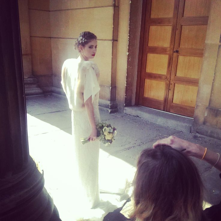 Jenny Packham Esme. Faux Fur Jacket Blanche in the Brambles Appolina. Headdress Hermione Harbutt Fiori.