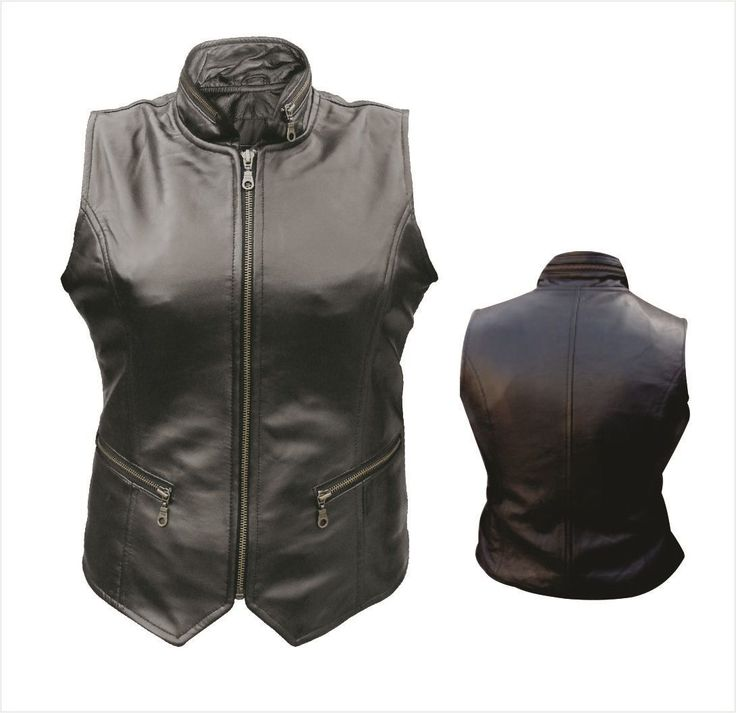 Womens Leather Motorcycle Vest with Zippered Front, Pockets & Collar by  Allstate Leather www. - 39 Best Womens Motorcycle Vests Images On Pinterest Women's