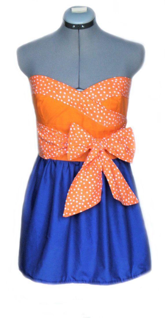 Orange and blue dresses - Color dress style