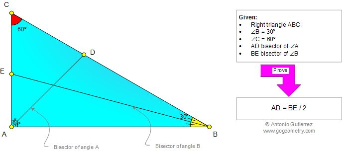 Geometry Problem 963: Right Triangle, 30-60-90 Degrees, Angle Bisectors, Metric Relations. Level: School, College, Mathematics Education.