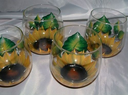 Hand Painted Stemless Wine Glass Sunflower