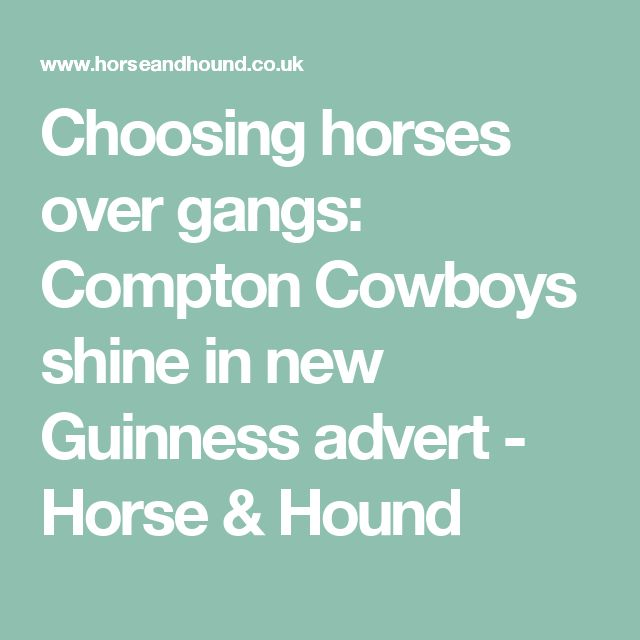 Choosing horses over gangs: Compton Cowboys shine in new Guinness advert - Horse & Hound