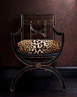 """H4LQ9 John-Richard Collection """"Cheetah"""" Roman Chair"""