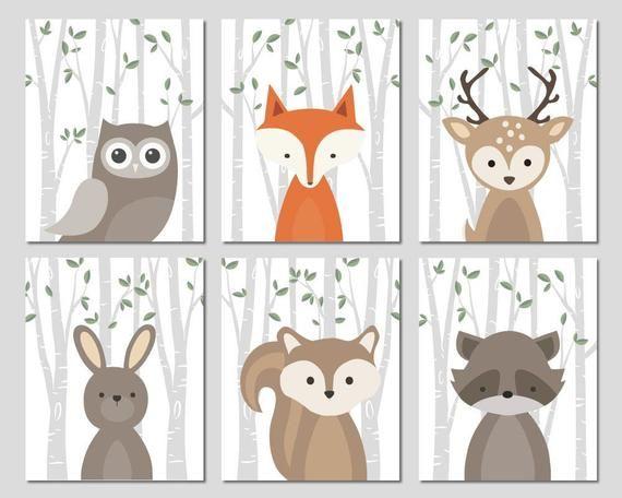 Forest Animals Nursery Art Woodland Creatures Wall Decor Baby Etsy Forest Animal Nursery Animal Nursery Art Baby Nursery Art