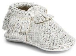 Infant Girl's Freshly Picked Fashion Week Mocassin Budding fashionistas will love the soft, comfy feel of these supple leather crib shoes featuring hidden elastic along the topline so they're practically kick-off-proof.