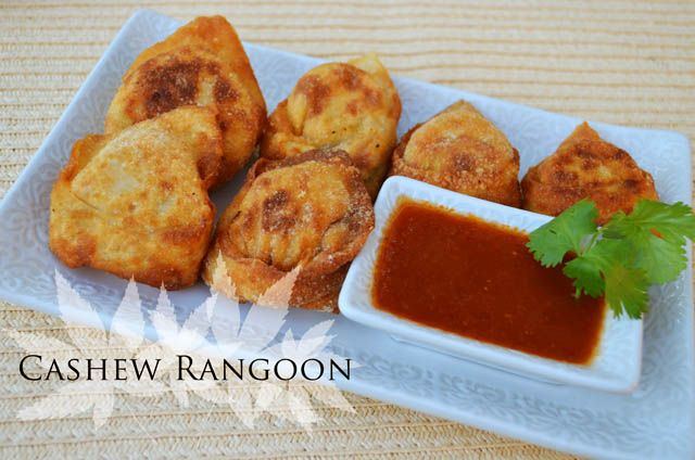 Cashew Rangoon  Makes fifteen (5-7 servings)     Ingredients        15 wonton skins/wrappers      1/2 cup raw cashews      1 tablespoon tahini      the juice from 1 lime      3/4 teaspoon salt      1 pinch black pepper      1/2 teaspoon soy sauce      1 tablespoon sriracha sauce or chili pepper paste      1/4 - 1/2 cup water      3 scallions, thinly sliced      1 sweet red pepper, minced (substitute a fresno pepper for extra heat)    Directions        Combine the cashews, tahini, lime juice…