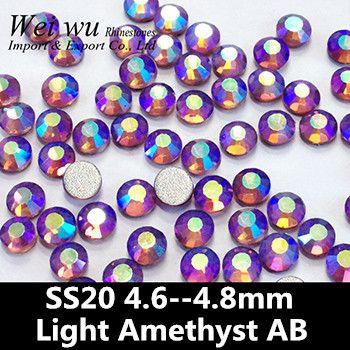 Best Price 1440pcs Non Hot-Fix Flatback Glass Material Light Amethyst AB SS20 Rhinestones For Nail Art #1440pcs #Hot-Fix #Flatback #Glass #Material #Light #Amethyst #SS20 #Rhinestones #Nail