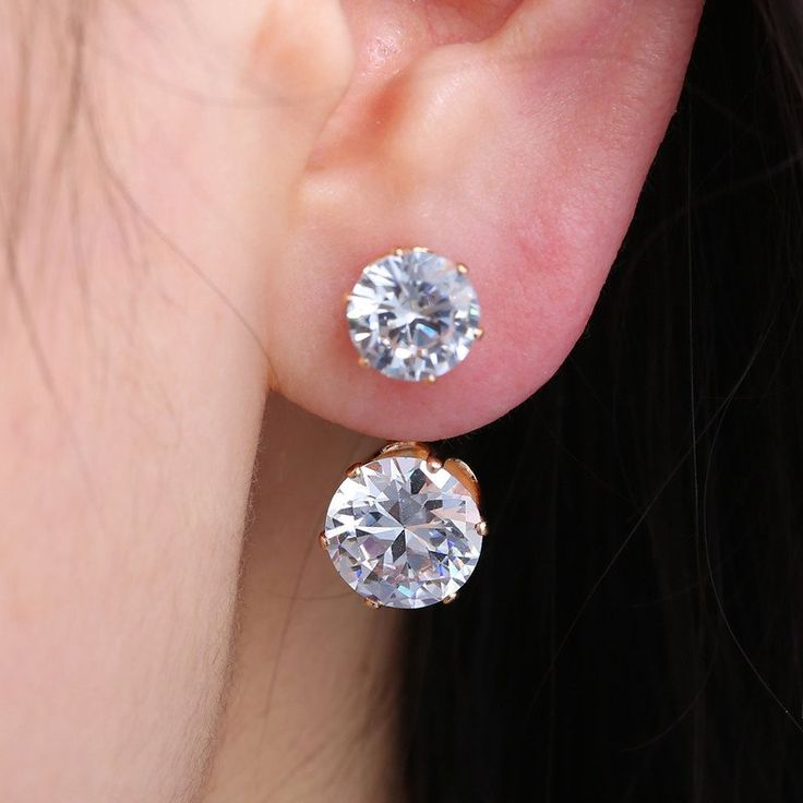 Double Crystal Stud Earrings For Gifts Crystals Silver Women Party Wedding Jewelry