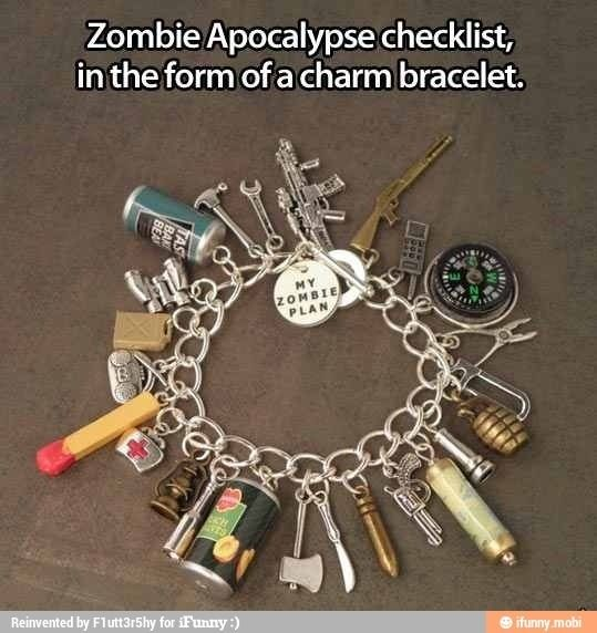 Zombie Apocalypse checklist charm bracelet. Zombie Apocalypse Survival Tools