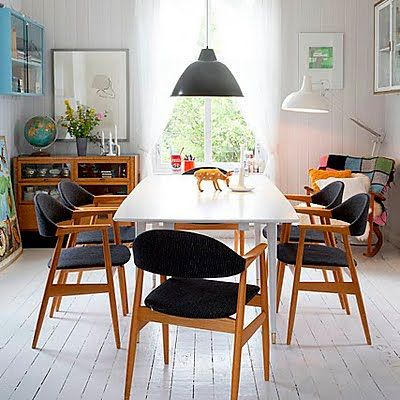 white table + black chairs...via inspirational spaces