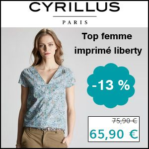 #missbonreduction; 13 % de réduction sur le Top femme imprimé liberty chez Cyrillus.	http://www.miss-bon-reduction.fr//details-bon-reduction-Cyrillus-i228-c1831451.html