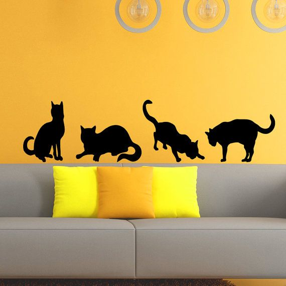 Cat Wall Decal Grooming Salon Decals Vinyl от WisdomDecals на Etsy