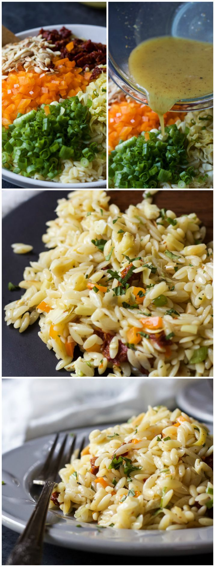 Mediterranean Orzo Salad filled with artichokes, sun-dried tomatoes, toasted almonds, and a white balsamic vinaigrette that will make you swoon! A great salad to serve with fresh seafood or grilled chicken. | joyfulhealthyeats.com #recipes