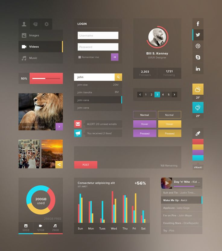 Web UI Kit with Transparent background