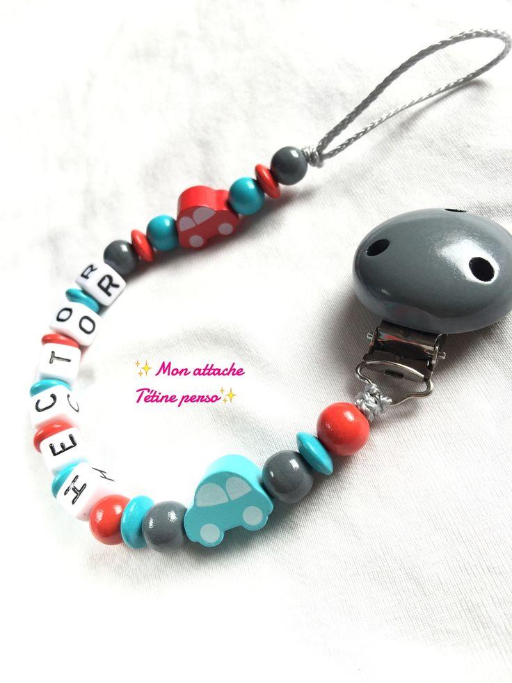 attache tétine personnalisée perles en bois ~ modèle Voiture rouge turquoise : Puériculture par mon-attache-tetine-perso