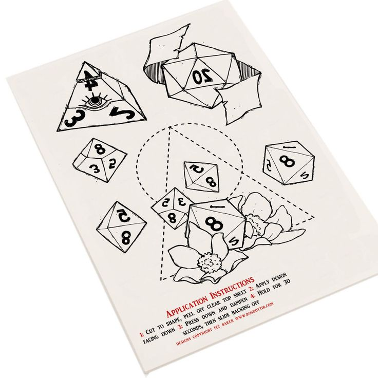 Be the coolest character in your D&D group with these temporary dice tattoos! This A5 sheet is packed with awesome designs that can be applied in under a minute with a bit of water and a damp cloth, and can be washed off easily at the end of the day with some warm water and soap. Skin-safe and non-toxic.