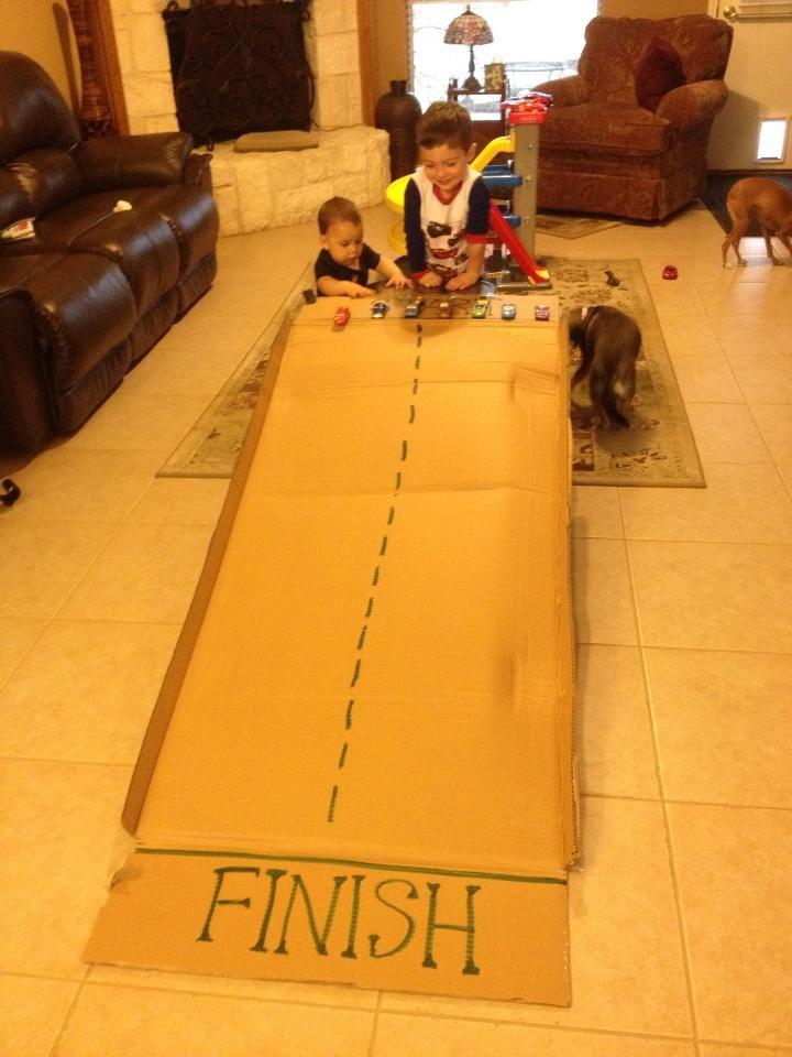 homemade cardboard car ramp simple parenting indoor activities pinterest homemade. Black Bedroom Furniture Sets. Home Design Ideas