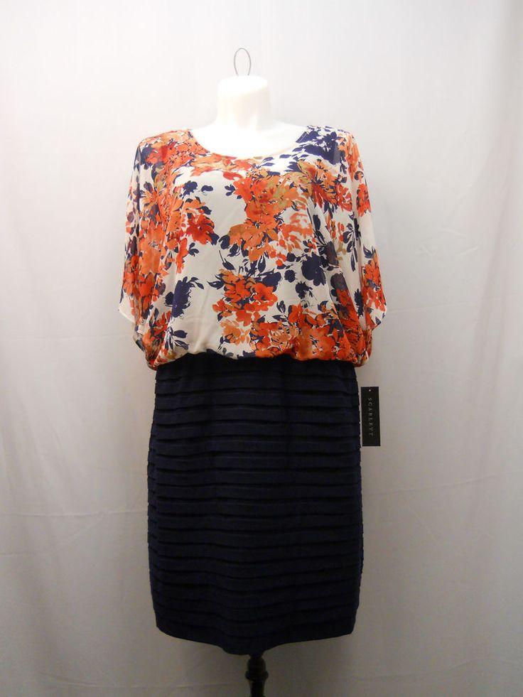 Scarlett Women's Dress PLus Size 18W Navy Floral Overlay Cold Shoulder Sleeves #Scarlett #Sheath #WeartoWork