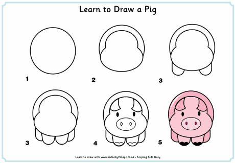 ¿Qué puedo hacer hoy?: Dibujos paso a paso: cerdo