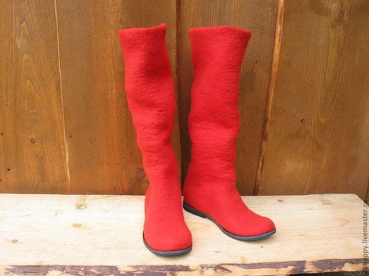 Купить Валяные сапожки SCARLETT - ярко-красный, подарок девушке, валенки, валенки для улицы