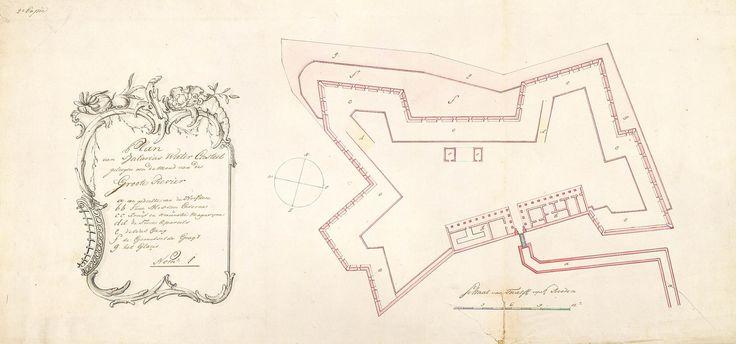 circa 1674 Map of the water fort at Batavia