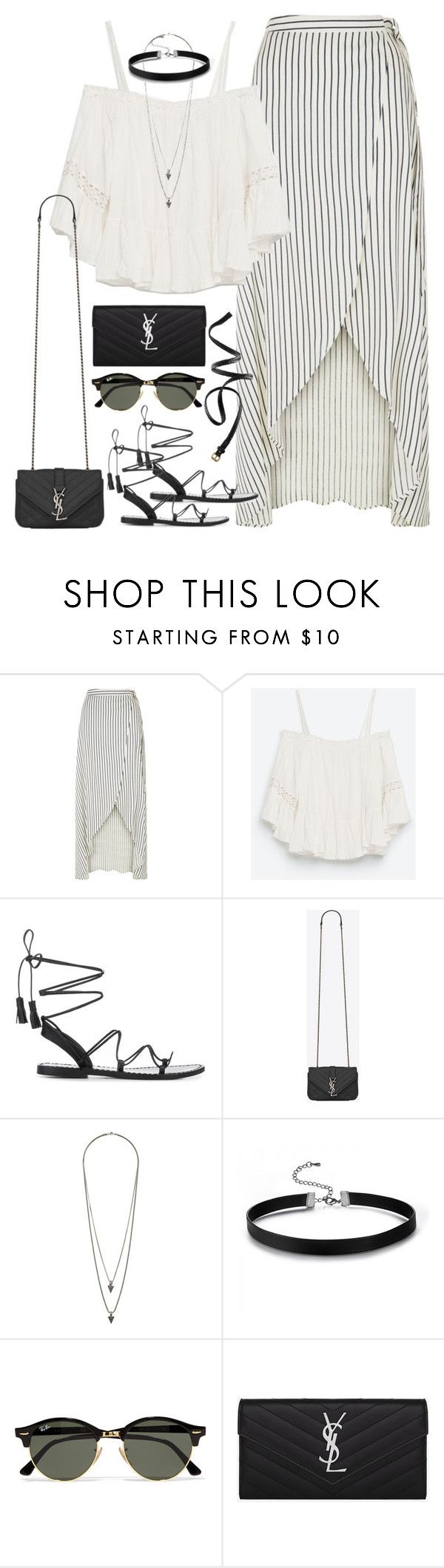 """""""Untitled#4371"""" by fashionnfacts ❤ liked on Polyvore featuring New Look, Zara, Anine Bing, Yves Saint Laurent, Wallis, Ray-Ban and H&M"""