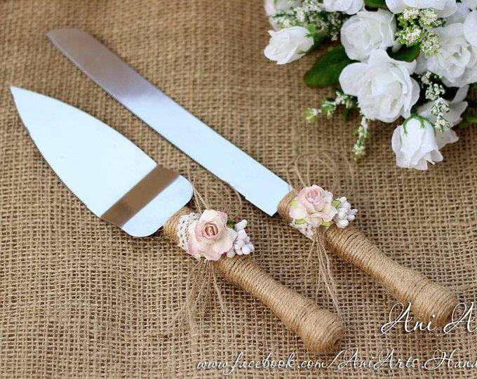 Rústico pastel servidor arpillera Set corte de pastel de boda pastel y cuchillo rústico que sirve conjunto cortador cortador de la torta Set de torta y el cuchillo Set
