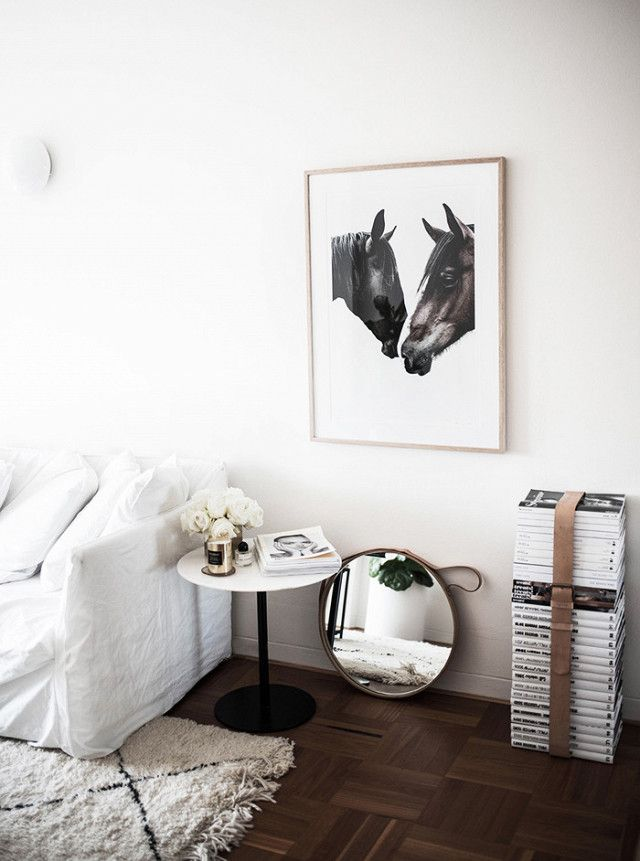 Simple White And Cozy Interior | Dark Wooden Floors And White Walls | White  Linen Sofa