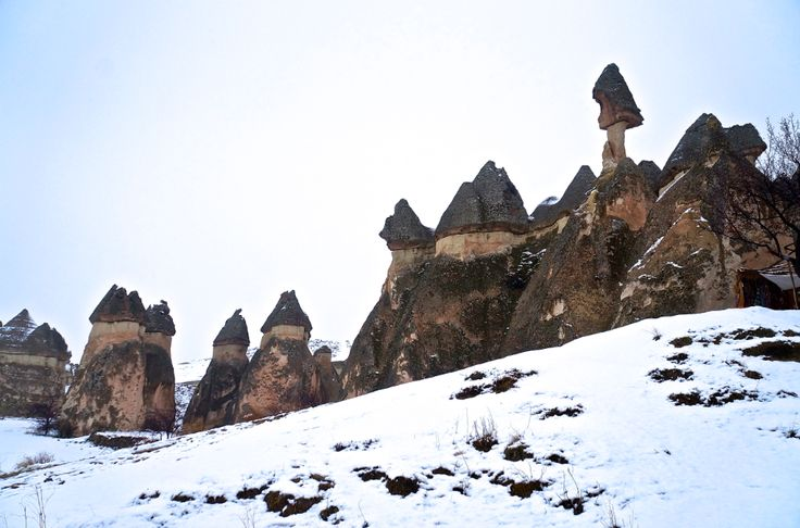The Fairy Chimneys of Cappadocia covered in Snow