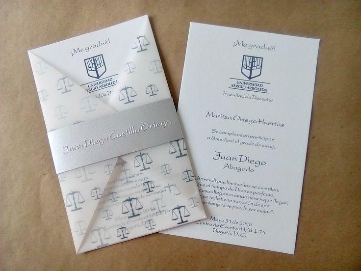 Invitaciones para Grado Casa Papelera El Cedro Franja nombre Repujado Escudo impreso Universidad Sergio Arboleda Ref-TG9