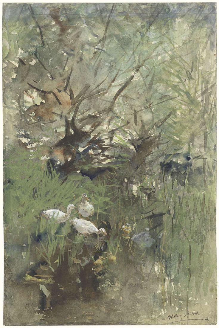 Eenden onder wilgen, Willem Maris, 1844 - 1910