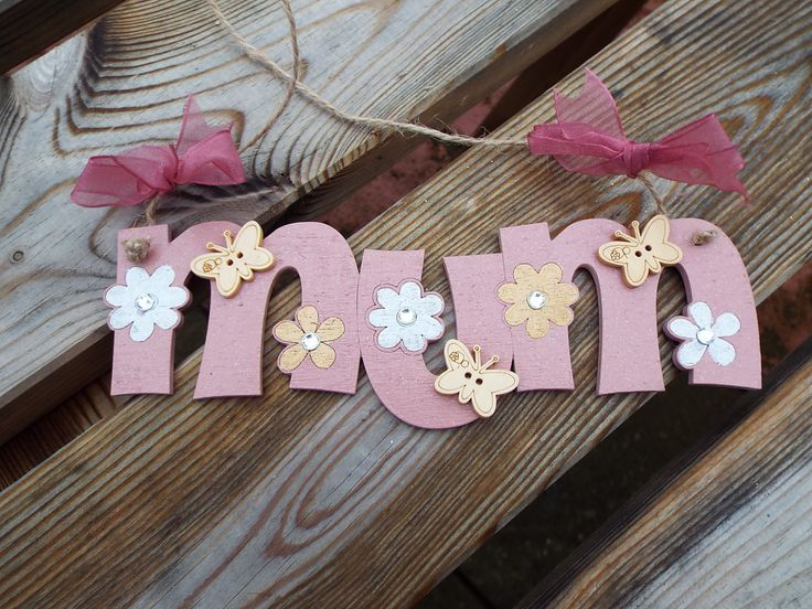 MUM - hand-painted wooden wall hanger. Laser-cut. Ideal gift for Mum. by KatijanesCreations on Etsy
