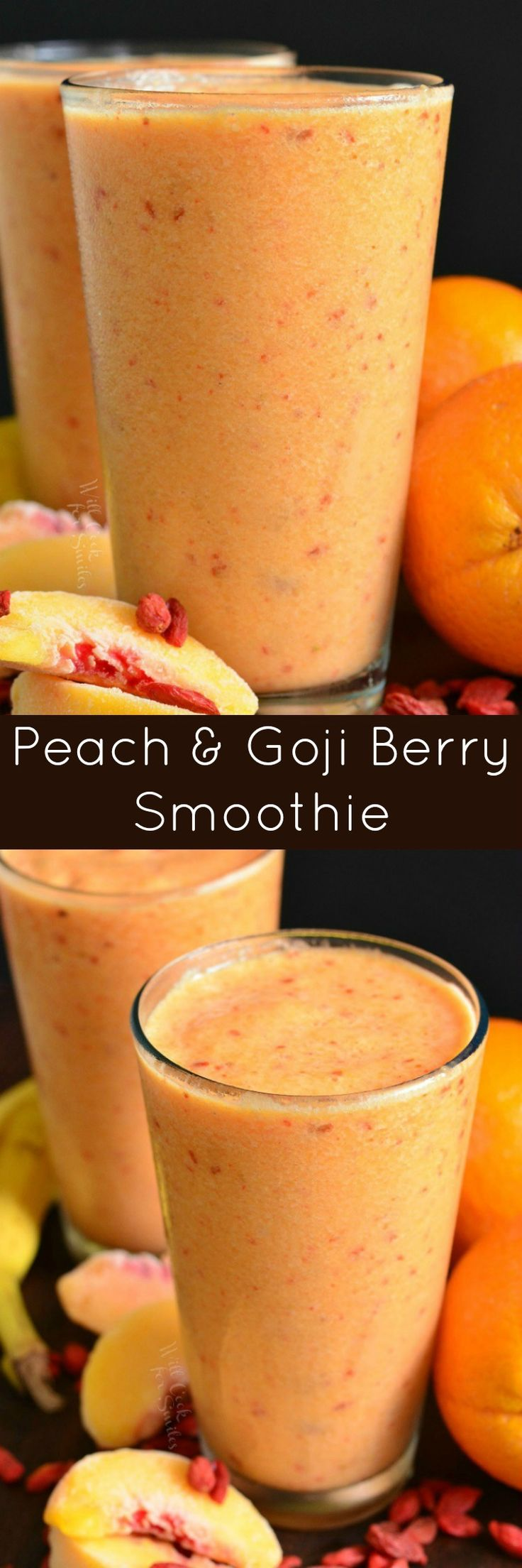 Creamy Peach and Goji Berry Smoothie. This smoothie is loaded with peaches, Goji berries, banana, @LoveMySilk Almond Milk, and a splash of orange juice.