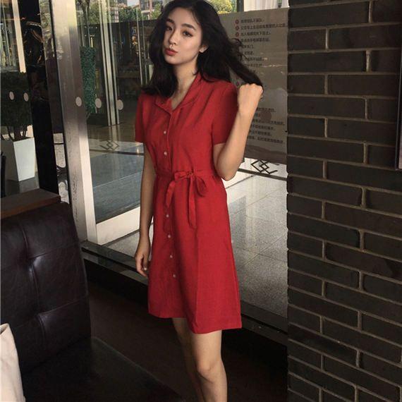 홍콩 드레스 복고 한국어 세련된 바람 기질 면화와 린넨 허리 짧은 소매 드레스 야생 간단한 싱글 긴 스커트 드레스