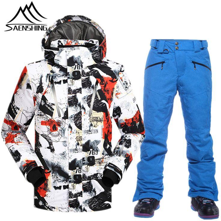 SAENSHING Ski Suits for Men Waterproof Thermal Snowboarding Suits Breathable Durable Men Ski Jacket  Pants Mountain Climbing