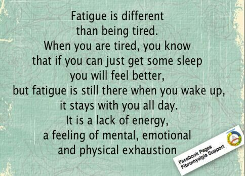 Fatigue is a lack of energy, a feeling of mental, emotional and physical exhaustion. It doesn't go away after #sleep.
