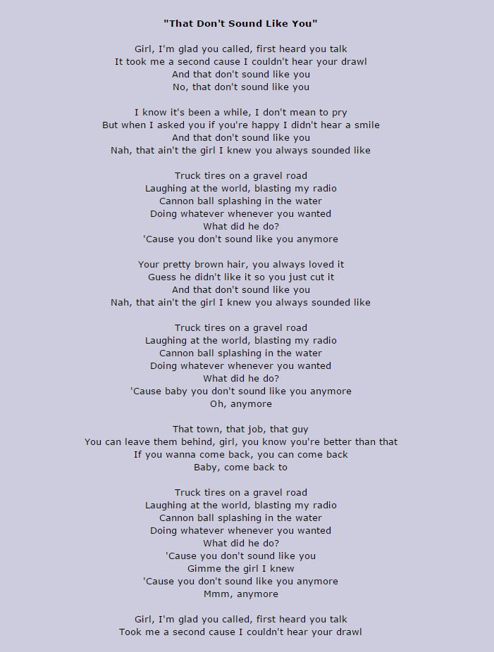 Lee Brice - That don`t sound like you