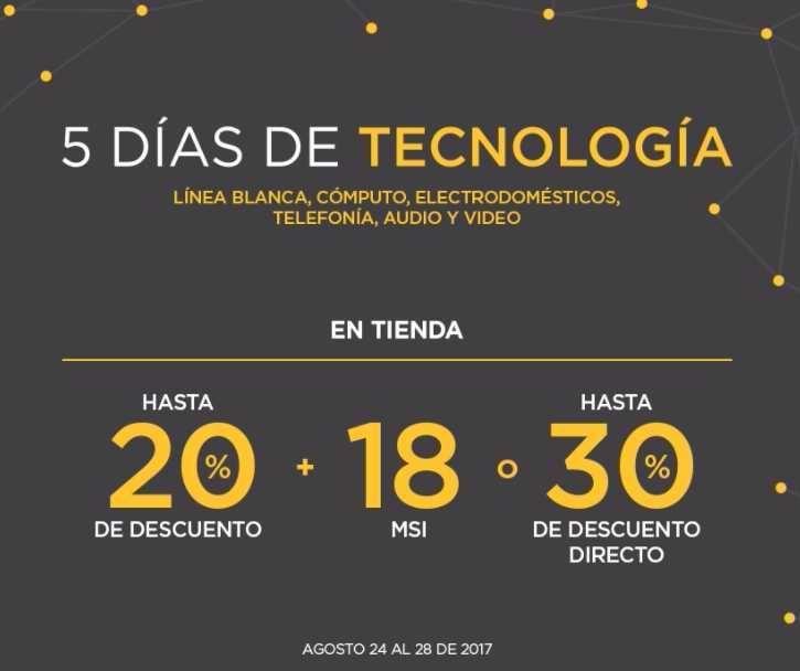 El Palacio de Hierro otra vez tiene su promoción de 5 Días de Tecnología del 24 al 28 de agosto de 2017 con las siguientes promociones y descuentos:Lí...