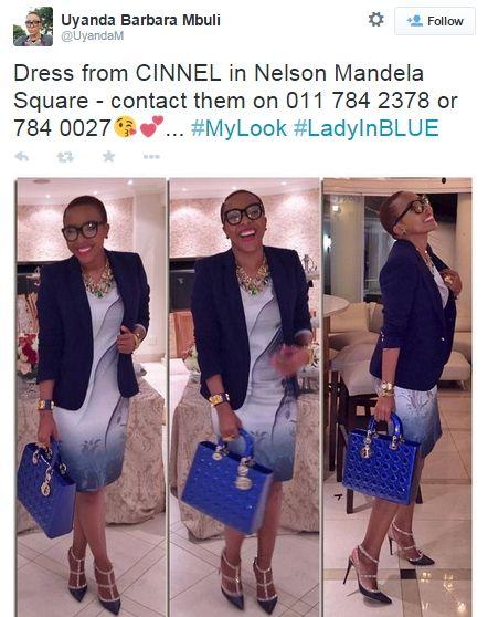 Uyanda Mbuli wearing a CINNEL dress