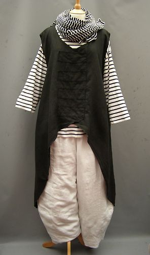Lagenlook: German Lagenlook~ Dramatic ~BLACK~ linen oversized Point Tunic~16-26 | eBay