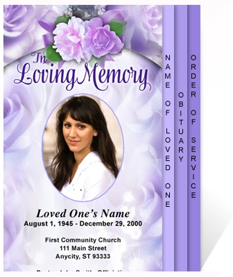 Beautiful Elegant Memorial Service Program Template Rapture