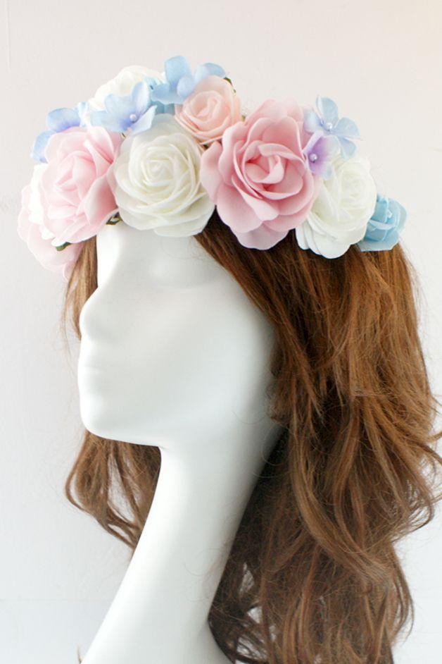 Haarbanden - Hoofdband met bloem / Bloemen diadeem - Een uniek product van LolaWhite op DaWanda