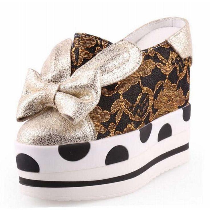 2017 fashion Spring Closed Toe Half Slippers Luxury Bow Sweet Ladies Wedges Platform Lace Slides Women Sandals Sandalia Feminina