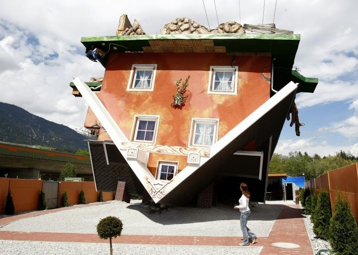 Walking on Ceilings in an Upside Down House - I read a children's book which had this premise once...: Austrian Village, Polish Architects, Architecture, Place, Photo, Upside Down House
