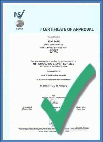 NSI Silver Certificate of Approval for Lone Worker Device Services - BS8484