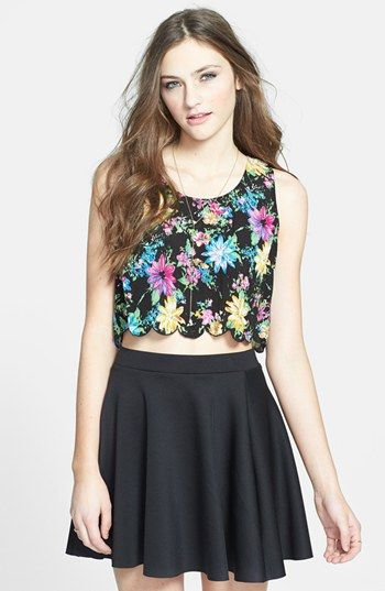 Lush Scalloped Floral Crop Top (Juniors) (Online Only) available at #Nordstrom