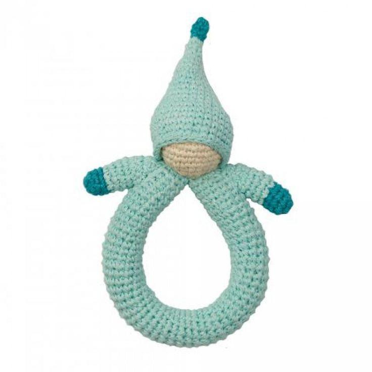 Ekologisk virkad skallra, ljusblå docka från Peppa - GoodforKids