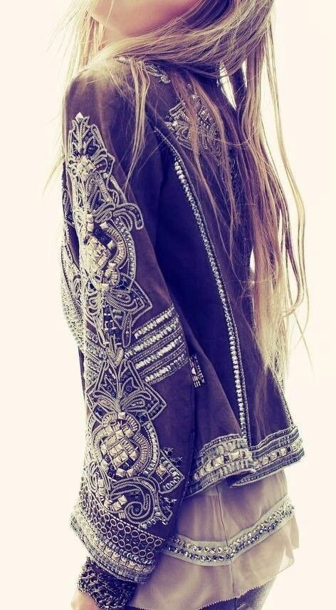 Detailing Is fabulous on this jacket. Love the sheer top under it beautiful combination of textures