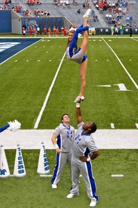 #cheer, scorpion, stunt, cheerleader, college cheerleading, game, football, flexibility, coed, sport