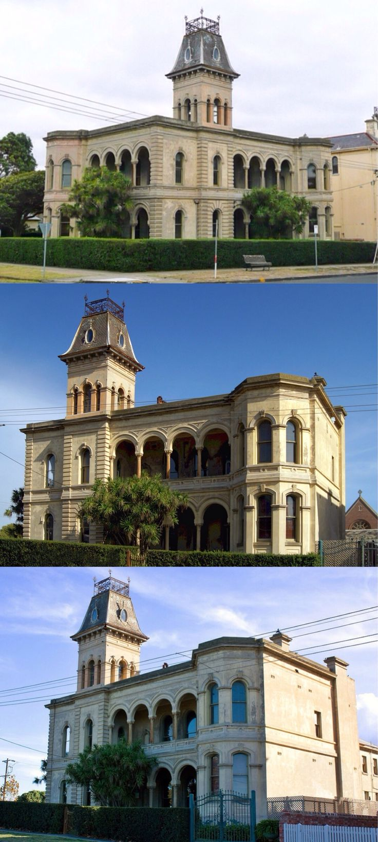 Lathamstowe, Queenscliff (103km SW of Melbourne). Designed by William J. Ellis; built 1882-83 by Edward Latham, brewer, specifically to enable Anglican clergy to holiday at this fashionable seaside resort. The palatial Italianate building is actually a pair of residences linked by a tower. Its flat lead roof (weighing 20tons) is accessed by an iron staircase. Used as a hotel, now a private residence. Until recently, it was one of the most intact buildings, externally and internally, in…